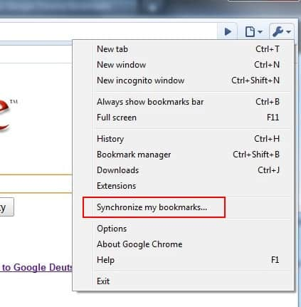 google chrome bookmark syncing