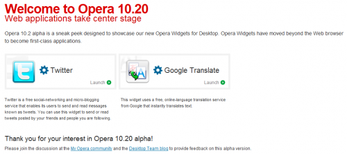 opera widgets for desktop