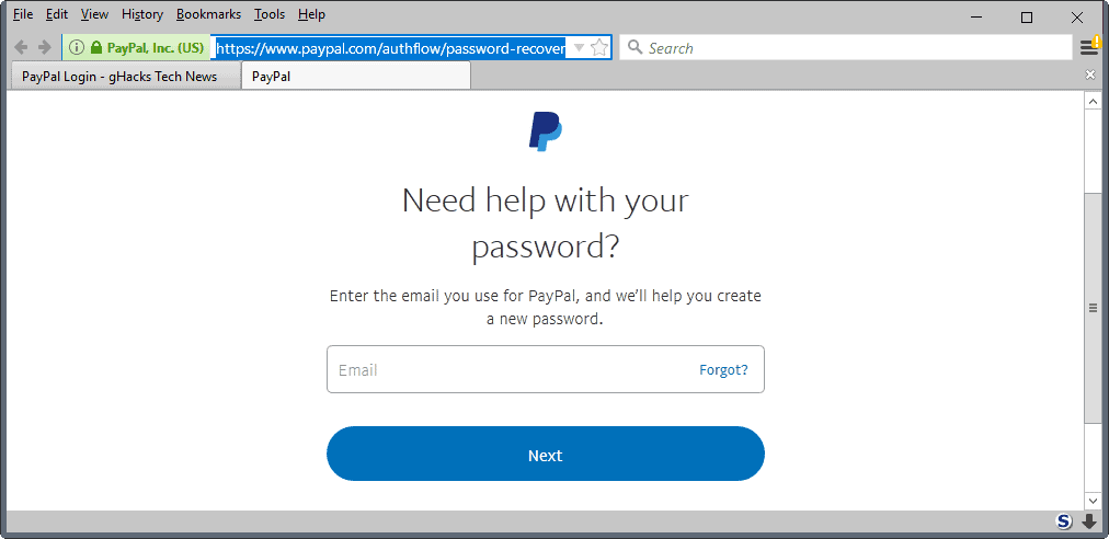 paypal lost password email