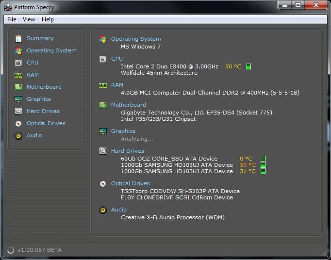 Computer hardware information downloaded