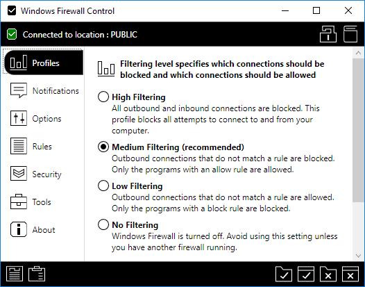 windows firewall control settings
