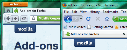 Firefox 3 and 4 comparison header