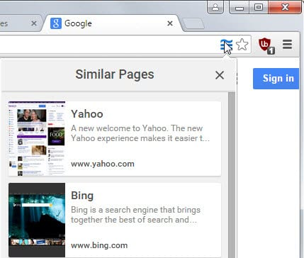 chrome similar pages