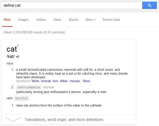 google define dictionary