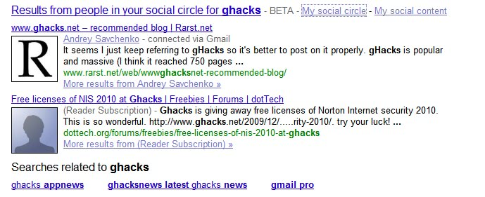 Google Social Circle Now Appearing In Search Results