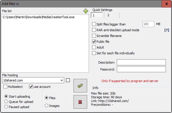 file image uploader preferences