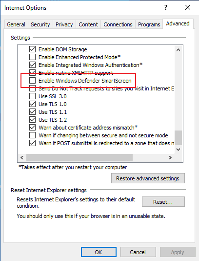 internet options smartscreen