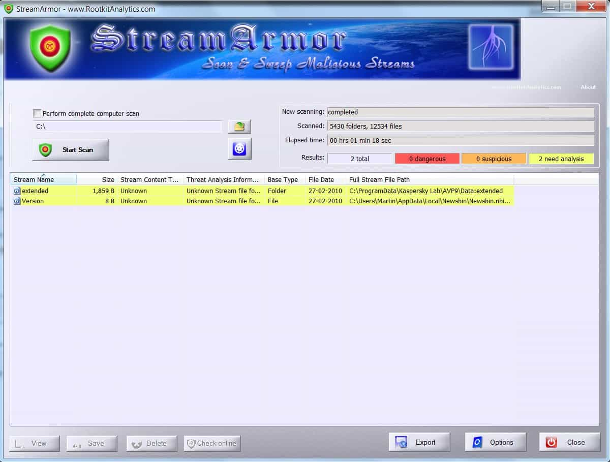 streamarmor alternate data streams