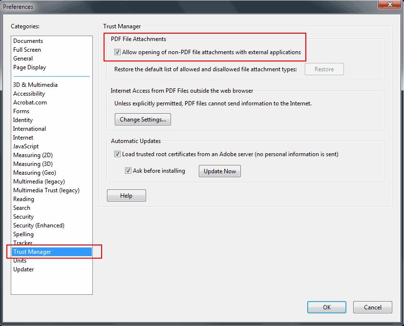 adobe pdf attachments