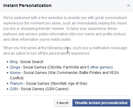 disable instant personalization