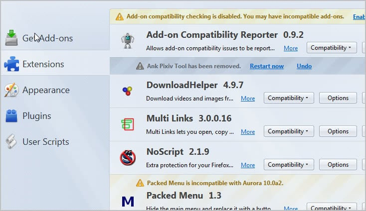 firefox addon manager