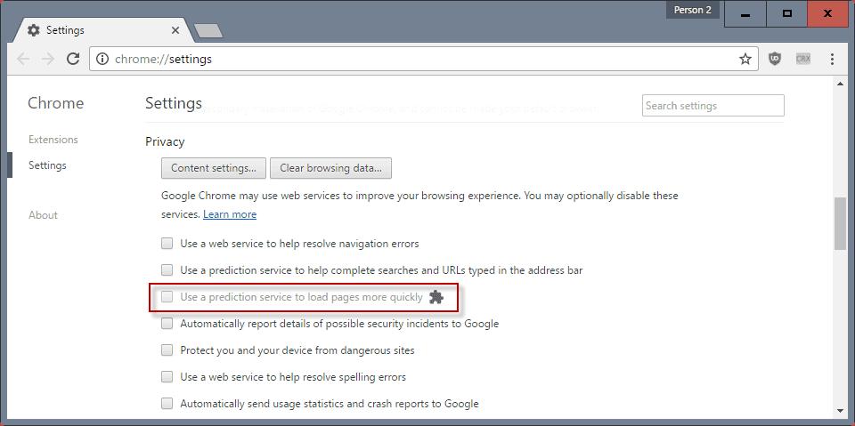 google chrome prediction service