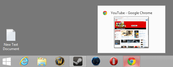 google chrome taskbar thumbnails
