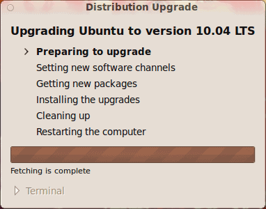 Upgrading from Ubuntu 9.10 to 10.4