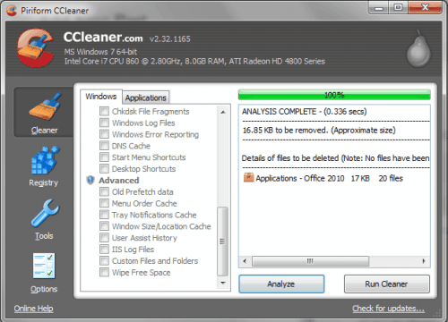CCleaner 2.32 Adds Microsoft Office 2010 Support