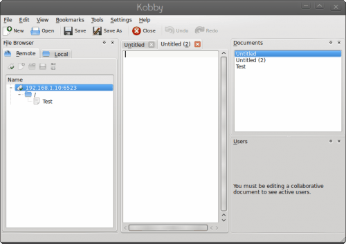 Kobby: KDE collaborative text editor
