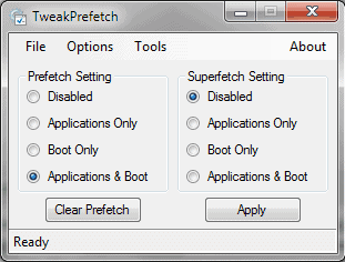 Configure Prefetch and Superfetch With TweakPrefetch