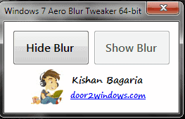 Windows Aero Blur Tweaker