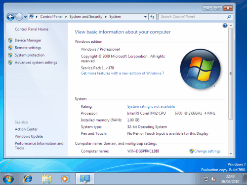 Windows 7 SP1 Screenshots