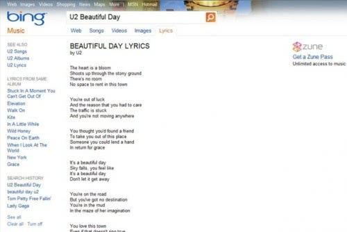 bing lyrics