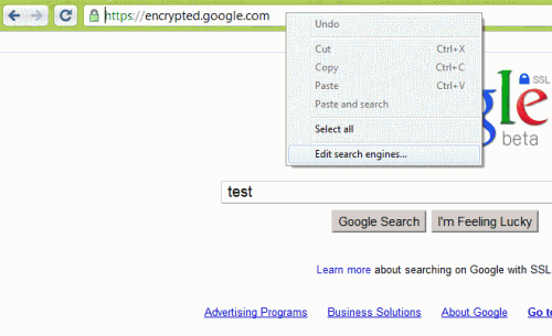 google chrome search engine