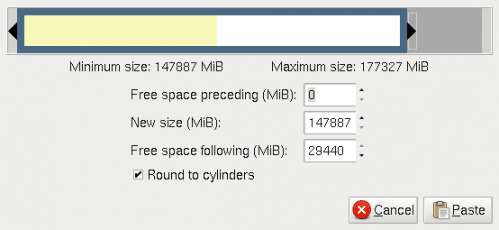 Copy partitions with gparted