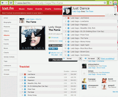 Last.fm Free Music Player For Google Chrome