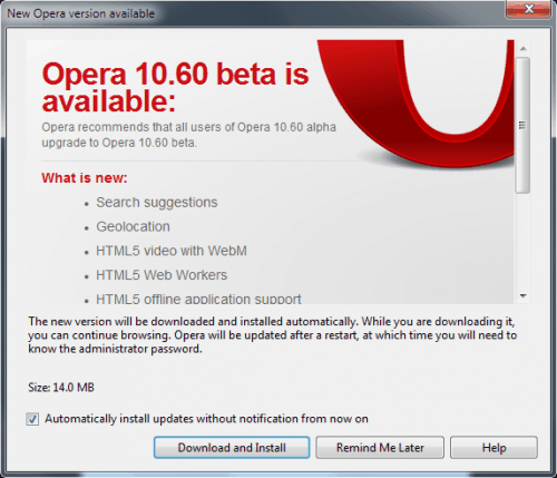 Opera 10.60 Beta Released, Fastest Browser Gets Even Faster