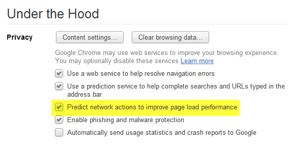 predict network actions to improve page load performance
