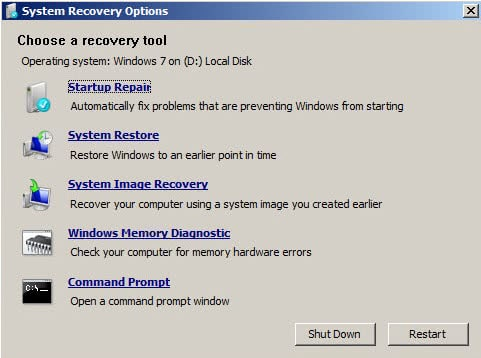 Get the Recovery Console back in Windows 7