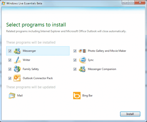 windows live essentials programs