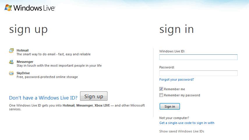 windows live login