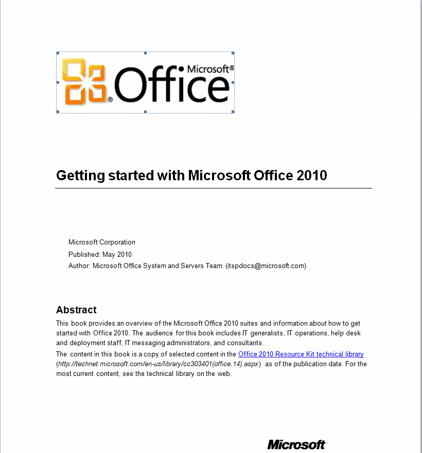 Getting Started With Microsoft Office 2010 Guide Ghacks