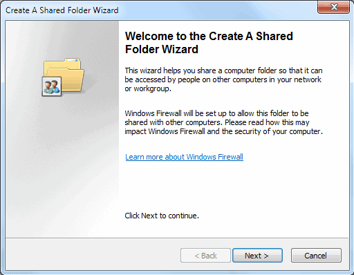 shared folder wizard