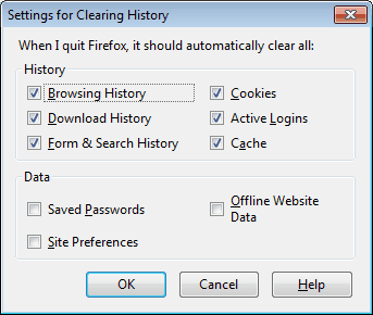 clear history on exit