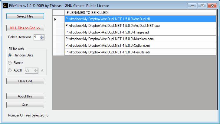filekiller interface