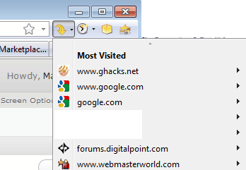 firefox most visited websites