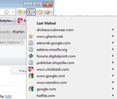firefox recent websites