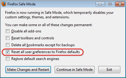 firefox reset browser settings