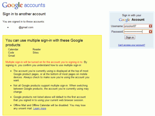 gmail multiple sign-in