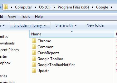 google chrome program files