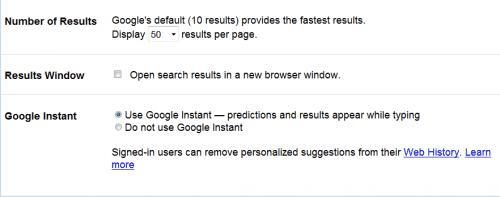 google instant preferences