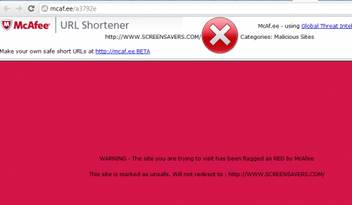 mcafee blocked site