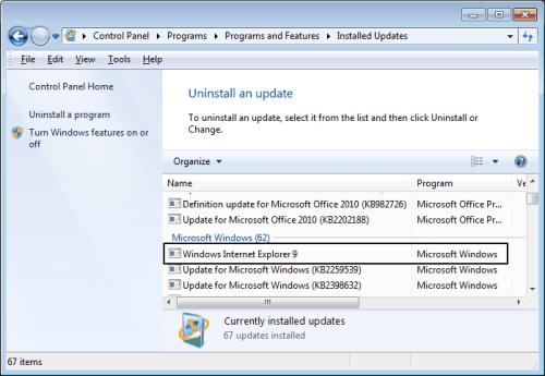 uninstall windows internet explorer
