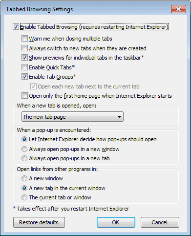 tabbed browsing settings