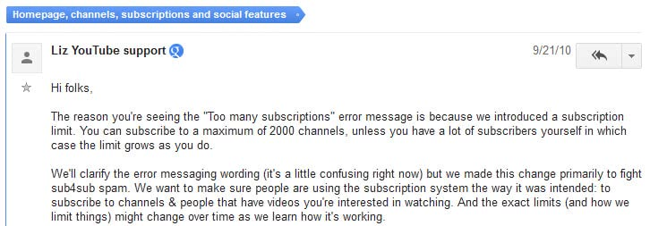 youtube subscriber limit