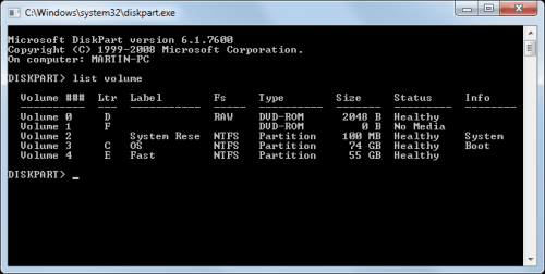 diskpart display hard drives