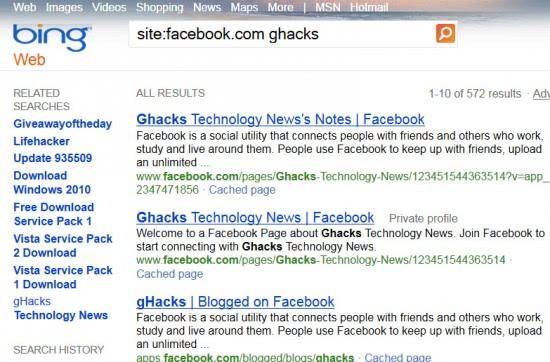 external facebook search
