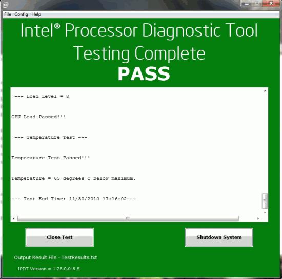 intel processor test