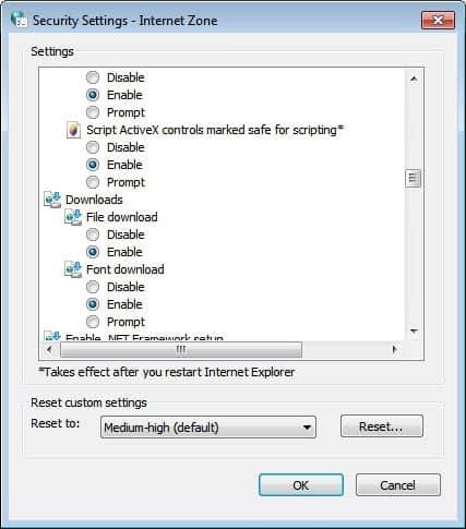 internet explorer security zone